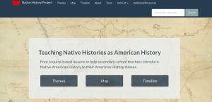 Screenshot of the landing page for the Native Histories Project